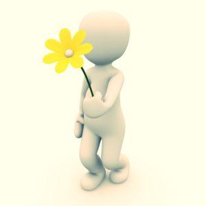 Weißes Männchen mit gelber Blume in sanft goldenem Licht.