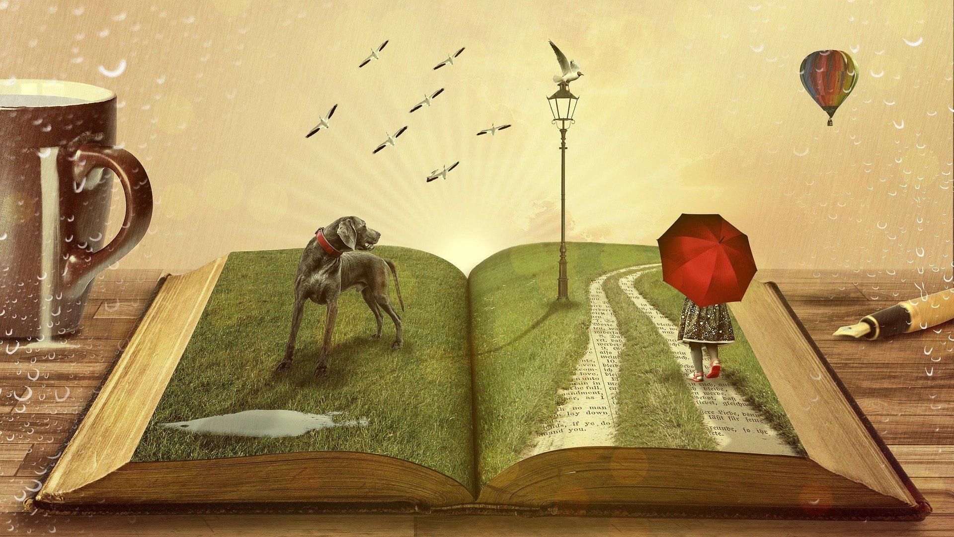Fantasy: Ein aufgeschlagenes Buch, ein Hund, ein Mädchen mit Schrim, ein Vogel auf einer Laterne. Daneben eine große Tasse mit Milch.