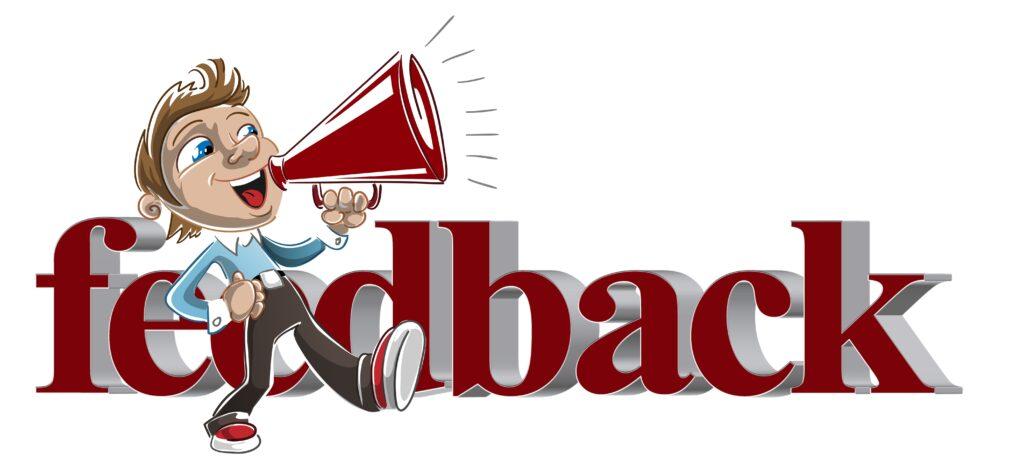 Coaching-Feedback: Ein Mann mit Megaphon marshcieert vo reinem Schriftzug feedback. Alles in Weinrot, Blau, braun.