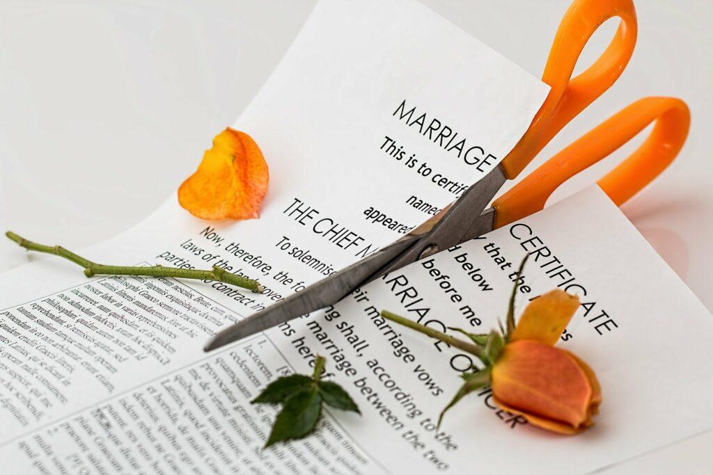 Akzeptanz auch hier nötig: Eine Orange Schere zerschneidet einen Ehevertrag und den Stengel einer orangen Rose.